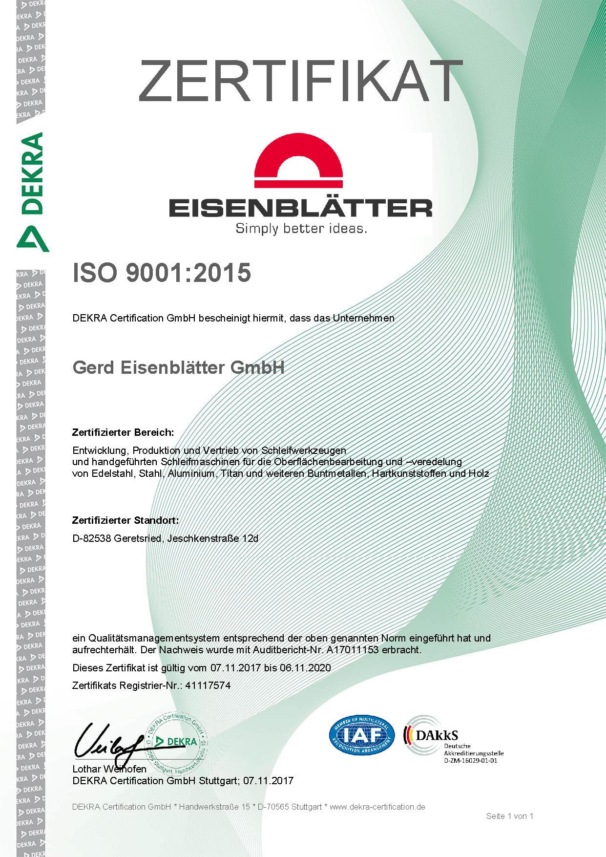 Zertifizierte Qualität! DIN ISO Zertifizierung nach neuesten Standards.