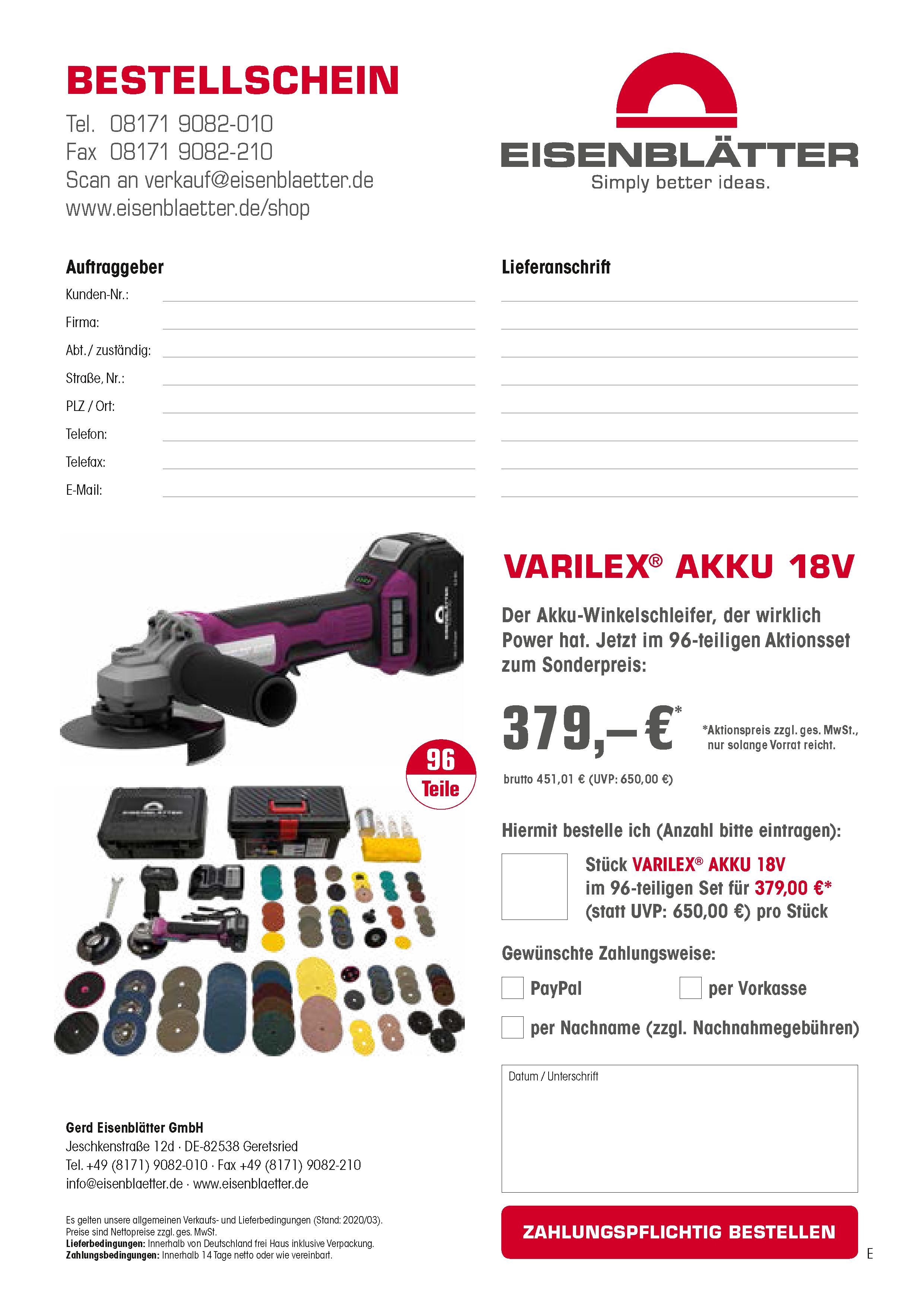 VARILEX Akku 18V Bestellschein